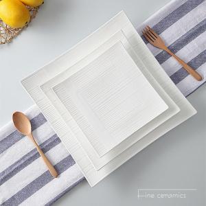 3pcs set, 6+8+10inch,  plain white embossed porcelain charger plates for dinner, ceramic platter, square serving plate, salad