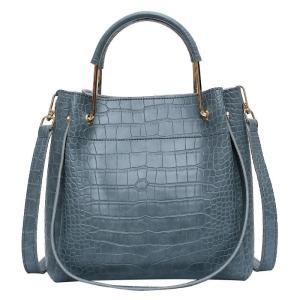 Crocodile Women's Handbags Wild Vintage Bucket Top-handle Large Capacity Solid Simple Casual Crossbody Bag Fashion Shoulder Bags