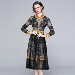 High Quality Designer Runway Summer Clothing Women 2021 Elegant Long Sleeve Floral Embroidery Lace Patchwork Midi Dress