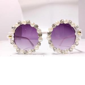 Pearl Rhinestone Round Sunglasses Women Sunglasses Vintage Diamond Luxury Brand Designer Men Sunglasses Retro Shades Sunglass