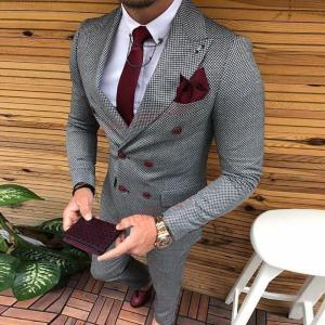 Latest Coat Pant Designs Double Breasted Men Suit Slim Fit Fashion Wedding Suits for Men Prom Groom Tuxedo Jacket with Pants Set