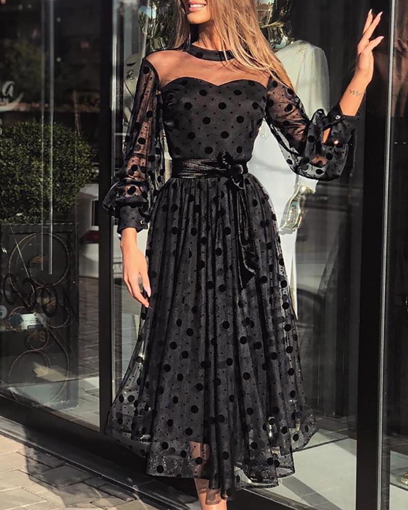 Mesh See Through Lantern Sleeve Pleated Dress Women Perspective Polka Dot Maxi Dress