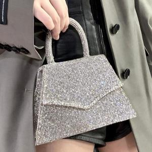 New Arrival Fashion Diamonds Box Shape Casual Female Handbag Top Handle Evening Bag Party Purse Ladies Crossbody Messenger Bag