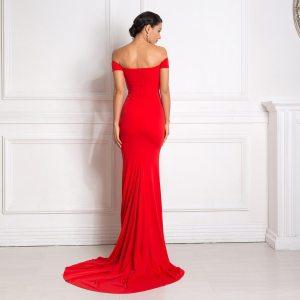 Sexy Off the Shoulder Slash Neck Mermaid Maxi Dress Padded Bodycon Split Red Backless Long Dress Black Floor Length Club Dress