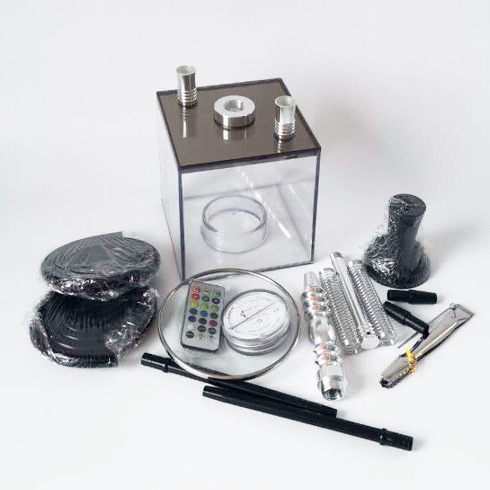 Arab Acrylic hookah Double Tube Shisha Pipe With LED light Chicha Narghile Silicone Tube Hookah Narguile Smoking Accessories