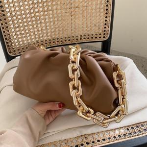 Women Luxury Designer Cloud Clutch Bag 2020 Hot New Trendy Fashion Ladies Thick Chain Shoulder Bag Soft PU Women Handbag Tote