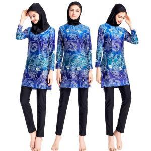 New Burkini Print Muslim Swimsuit Long Sleeve Islamic Swim Beachwear Three Pieces Bourkini Without Pad Summer Bathing Suit S-4X