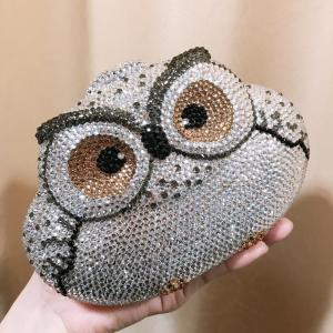 Luxurious Bags for Women Dazzling Silver Owl Clutch Women Crystal Evening Bag Wedding Cocktail Party Diamond Handbag and Purse