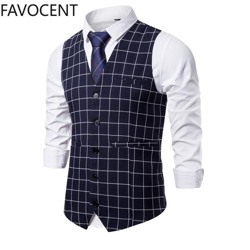 New Mens Vest Casual Business Men Suit Vests Male Lattice Waistcoat Fashion Mens Sleeveless Suit Vest Smart Casual Top Grey Blue