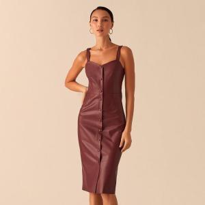 Sexy Party Club Bodycon Knee Length Dress Women Spaghetti Strap Button Pu Leather Sheath Slim Fashion 2020