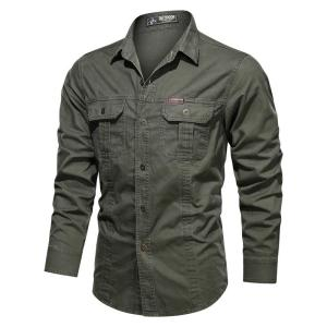 New 2020 Casual 100% Cotton Men's Shirts Solid Color Stand Collar Pocket Button Up Shirts for Men Fashion Long Sleeve Shirts Men