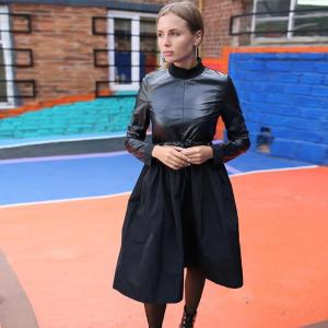 Women Casual Sashes Pu Leather a Line Party Dress Ladies Long Sleeve Stand Collar Elegant Solid High Waist Black Winter Dress