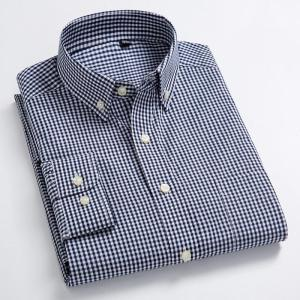 Men's Standard-Fit Long-Sleeve Casual Checked Shirt Single Patch Pocket Button-down Collar Comfortable 100% Cotton Gingham Shirt