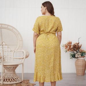 DOIB Oversize Dresses Floral Print V Neck Elastic Waist Large Size Dresses Summer Women Elegant Irregular Plus Size Dress 4XL