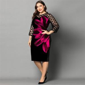 L-5XL Plus Size Dress Ladies Casual Lace 3/4 Sleeve Patchwork Elegant Dresses Women 2020 Spring New Rose Printed Black Dresses