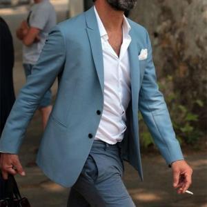 Fashion Elegant Blue Men Suit Grey Pants Beach Wedding Tuxedo Custom Young Men Casual suits Wear Vestido (Jacket+Pants)