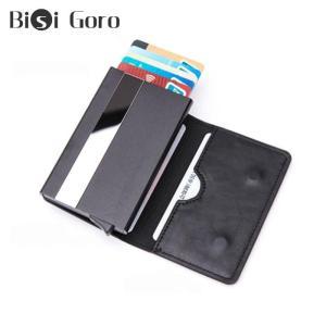 Bisi Goro Men And Women Aluminum Box Magnet Card Holder PU Leather Smart Wallet Anti-theft RFID Blocking ID Card Case