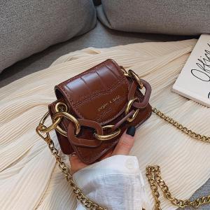 Fashion Mini Saddle Women Shoulder Bags Designer Brand Acrylic Chain Handbags Luxury Pu Leather Female Crossbody Bag Small Purse
