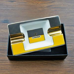 Ceramic Cigar Ashtray holder 2 cigars Portable Home Cigarette Ash Slot with gift box