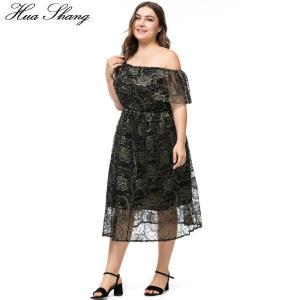 Off Shoulder Lace Party Dress Plus Size 6XL Women Summer Slash Neck Short Sleeve Casual Dress Black Tunic Maxi Long Dresses