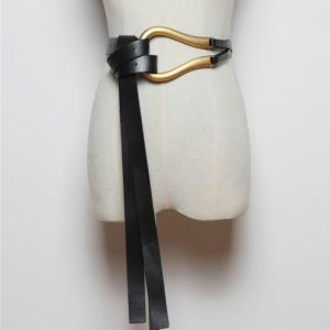 Luxury Brand Newest Fashion U-shaped Soft Faux Leather Belts Personality Double Layer Waistbands Shirt Knotted Belt Long Straps
