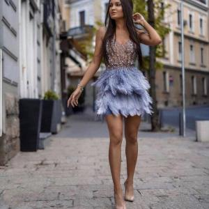 High Quality Pink Blue Feathers Rayon Bandage Dress Elegant Night Club Party Dress Vestidos