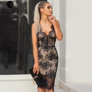 Sexy V neck Lace Dress Women befree New Off Shoulder Black Backless Bodycon Dress Nightclub Ladies Party Dresses Vestido clothes