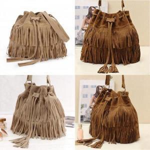 Vintage Crossbody Bags for women Retro Small female Leather Bucket Bag Lady Handbag Tassel decoration Drawstring Shoulder Bag