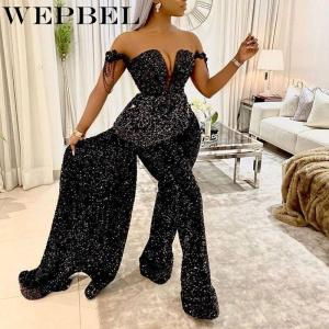 WEPBEL Women's Sexy Strapless V-neck Sleeveless High Waist Slim Fit Elegant Loose Jumpsuit Winter Sequined Stitching Jumpsuits