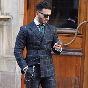 LORIE Fashion Dark Plaid Double Breasted Men Suits Slim Fit Tuxedo Wedding Groom Terno Masculino Blazer Jacket+Pant Sets Plus