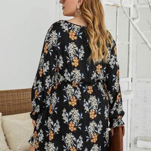 Oversized Black Dress for Women 4XL Large Swing Print Slim Ladies V Neck Leisure Long-Sleeve Elegant Plus Size Dresses Female
