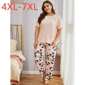 Ladies spring autumn plus size pajamas for women short sleeve pink print T-shirt and long pants home wear suit 4XL 5XL 6XL 7XL