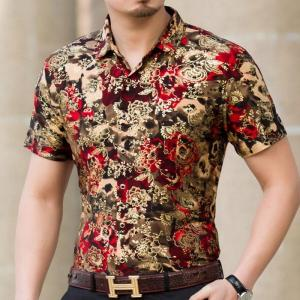 Mens Luxury Gold Floral Business Shirt Hipster Casual Slim Fit Short Sleeve Social Shirts/Party Shirts/Prom Shirts/Wedding Shirt