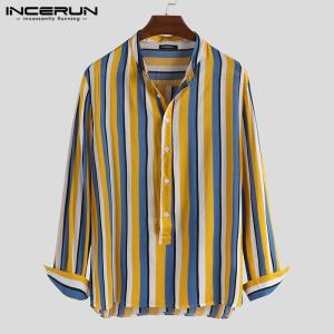 Men Long Sleeve Shirt Striped Breathable Stand Collar Fashion Camisa Masculina Button Brand Casual Tops Mens Clothing INCERUN