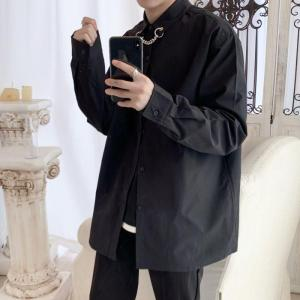Korean Style Dress Shirt Men's Fashion Society Men Shirt Solid Color Business Casual Shirt Streetwear Loose Long Sleeve Shirt