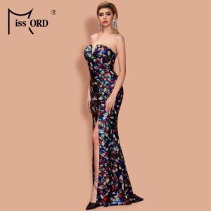 Missord 2021 Women Sexy  V Neck Off Shoulder Sequin Multi Dresses High Split Maxi Elegant Summer Dress FT20131