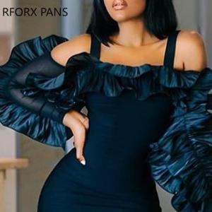 Cold Shoulder Frill Design Long Sleeve Bodycon Dress  Women Dress