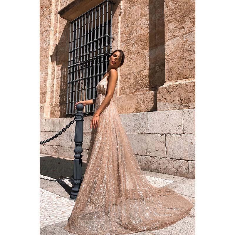 Women's Dresses Pretty V-neck Sleeveless Wedding Sexy Party Dress Off-Shoulder Asymmetric Robe Striking Backless Dress SY5251