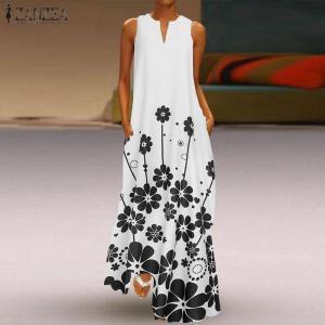 Women's Printed Sundress ZANZEA Bohemian Summer Maxi Dress Casual Sleeveless Vestidos Female V Neck Floral Robe Oversized