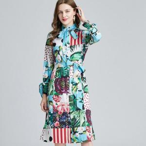 Banulin 2021 Spring Runway Contrast Floral Shirt Dress Women Long Sleeve Bowknot Multicolor Print Sashes Holiday Midi Dresses