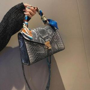 Woman's Bag Luxury Scarf Decoration Handbags for Women 2019  Designer Snakeskin Pattern Shoulder Bags Female Crossbody Bag