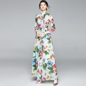 Autumn Flower Chiffon Dress Women Holidays Long Sleeve Vintage Draped Big Swing Belt Bow Floral Print Ladies Maxi Dress + Scarf