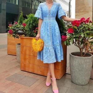 Boho Solid Light Blue V-neck Half Flare Sleeve Hook Flower Hollow Single-breasted Lace 2019 New Summer Elegant Women Dress
