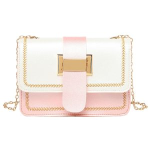 Korean version of the women's pumping belt color contrast small square bag 2020 summer new shoulder chain bag#YL10