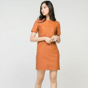 Causal O-Neck Straight Pu Leather Party Dress Ladies Short Sleeve Solid Hidden Zipper Mini Dress Orange Color 2020 New Fashion