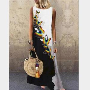 Vintage Floral Maxi Dress Women Sexy Sleeveless O-Neck Loose Casual Dress Summer Boho Butterfly Print A-Line Dress 5XL Plus Size