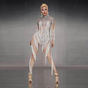 3D Print Fake Rhinestone White Tassel Long Sleeves Jumpsuit Women Dancer Leggings Romper Singer Stage Performance Show Outfit