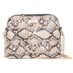 Retro Snake Print Chain Shell Shoulder Handbags Women Fawn Leather Crossbody Bag Female Serpentine Messenger Bag Bolsa femenina