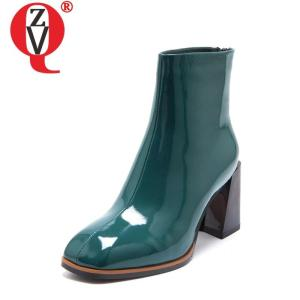ZVQ women fashion ankle boots 2020 winter new style ladies square toe high heels back zipper patent leather winter booties lady