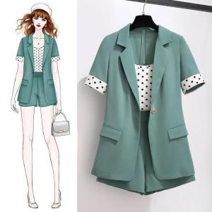 Fashion suit women spring and summer new Korean short-sleeved suit high waist shorts polka dot vest three-piece suit